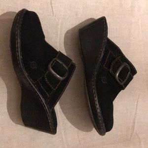 B.O.C BORN Black Suede Leather Slip-On Mule/Clog 9